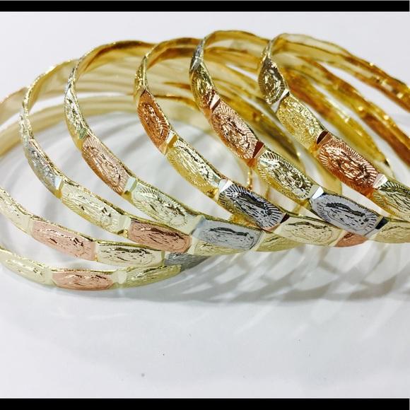 8432974acac47 14K Gold Plated Guadalupe Bangle bracelet 7pc set